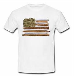 American flag weed joint T-shirt