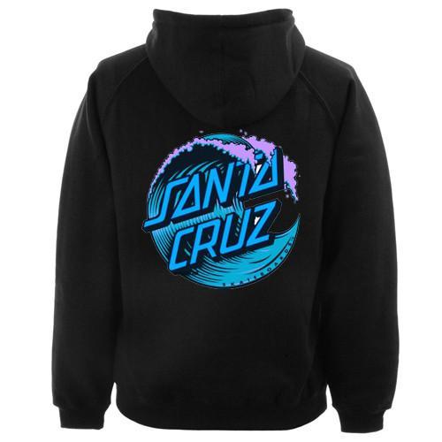Blue Santa Cruz Wave Logo Hoodie Back