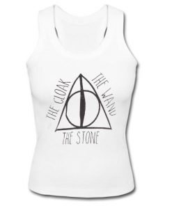 Deathly hallows and Harry potter hogwarts The Cloak The Wand The Stone Tank Top
