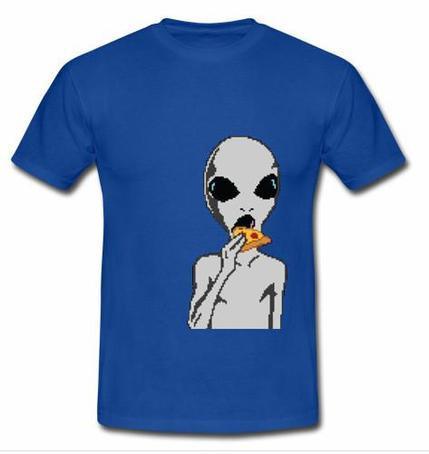 alien eating pizza T-shirt
