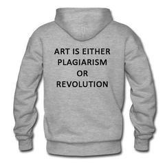 art is either plagiarism hoodie back