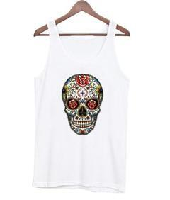 colorful skull tank top