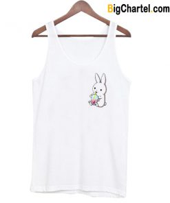 Cute Boba Loving Bunny Tank Top-Si