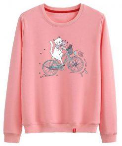 Cat Ride A Bike Sweatshirt