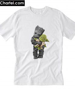 Baby Groot Hugging Yoda Star Wars White T-Shirt PU27