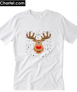 Weihnachten Rentier Kopf T-Shirt PU27
