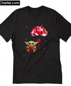 Baby Yoda hug balloon heart Valentine Day T-Shirt PU27