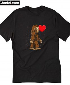Bigfoot Heart Valentine's Day Sasquatch T-Shirt PU27