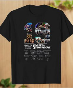 19 Years of Fast and Furious 2001 2020 10 Movies T-Shirt PU27