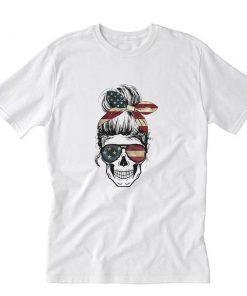 Womens American Lady Skull USA Flag 4th of July T-Shirt PU27