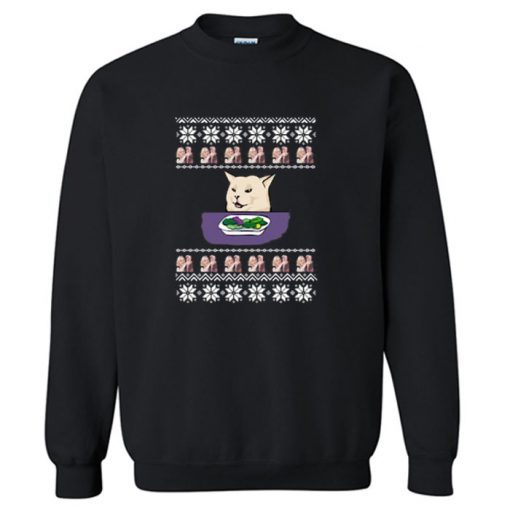 Yelling Cat Meme Ugly Christmas Sweatshirt PU27